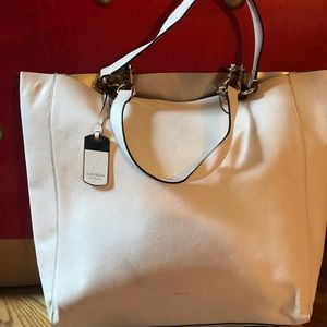 Ralph Lauren cream leather tote bag w/2  straps.